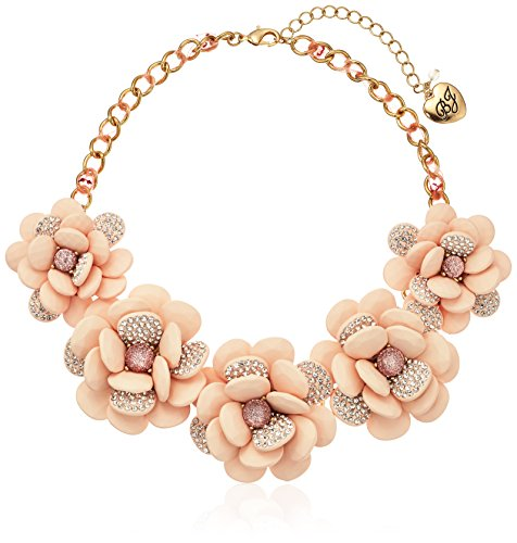 Betsey Johnson Marie Antoinette Large Pave Flower Statement Necklace