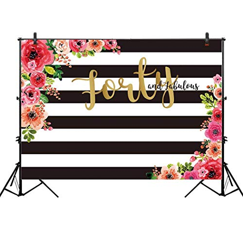 Allenjoy 10x6.5ft 40th birthday party backdrop for woman