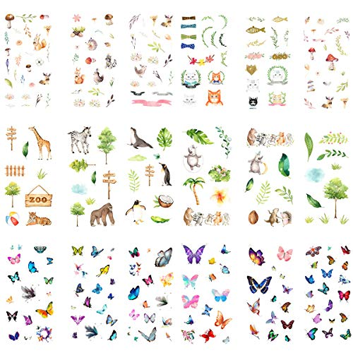 (Kawaii Sticker Set (18 Sheets) Cute Forest Animal Zoo Zebra Penguin Hedgehog Tiger Cat Deer Bird Colorful Butterfly Stationery Stickers Scrapbooking Journal Diary Planner DIY Craft Decorative Label)