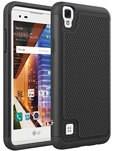 LG X Style Case, LG Volt 3 Case, LK [Shock Absorption] Drop Protection Hybrid Armor Defender Protective Case Cover for LG Tribute HD LS676 / LG X Style / LG Volt 3 (Black) (Style Silicone Rubber Case)