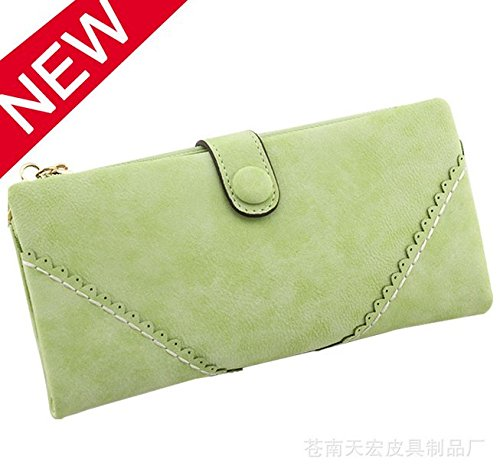 moorejieka Fashion Leder Geldbörse Button Lady lang Damen Handtasche rose grün
