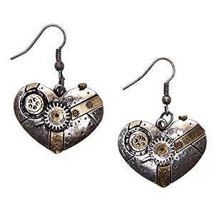 Steampunk Earrings – Gear Machine Heart