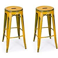 Yellow Industrial Round Barstools Rustic, Homebeez Vintage Metal Counter Stools,30 inches ,set of 2 (Antique Yellow)