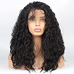 vvBing Hair Wig Synthetic Lace Front Wigs Curly Hair Heat Resistant Fibers Loose Curly Lace Front Wigs Glueless With Baby Hair Color Dark Brown 16inch