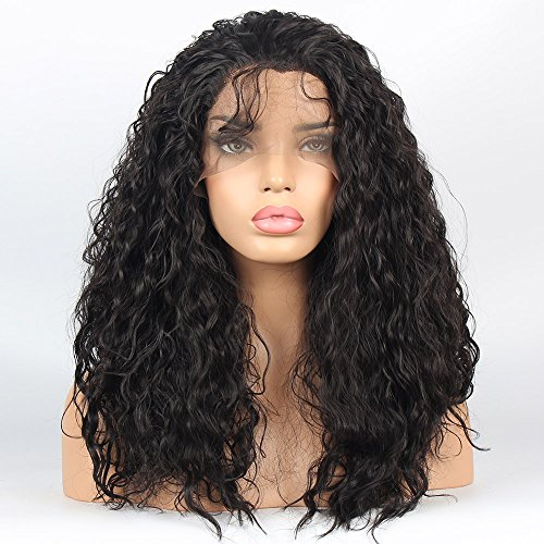 vvBing Hair Wig Synthetic Lace Front Wigs Curly Hair Heat Resistant Fibers Loose Curly Lace Front Wigs Glueless With Baby Hair Color Dark Brown 16inch ()