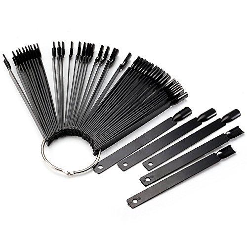 Nail Tools   50Pcs Black False Nail Polish Display Tip Stick Ring Fan Board Stand Manicure Practice Tool   Nail Sticks Display Shaped Tips Nails Practice Sample Color   Fan Art