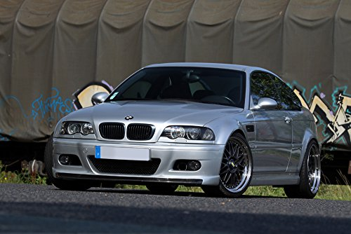 Poster of BMW M3 E46 Silver Left Front on riaL Wheels HD 54x36 Inch (Rial Wheels)