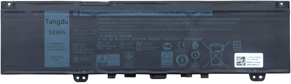 Tangdu F62G0 New Replacement Laptop Battery for DELL Inspiron 13 5370 7370 7373 Vostro 5370 RPJC3 F62GO 11.4 V 38WH 3166mah