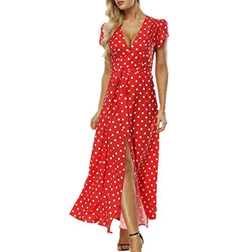 Dresses Retro Polka Dress Sexy Maxi Dot Red Mclochy Vintage Neck V for Long Women 50s EZRp8nnxqw