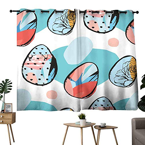- Novel curtains Hand drawn vector abstract creative universal Easter seamless pattern design with Easter eggs in bright colors isolated on white background Spring unusual graphic decoration Darkening