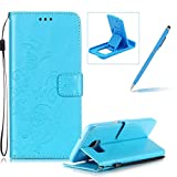 Strap Case for Samsung Galaxy S7 Edge,Wallet Leather Cover for Samsung Galaxy S7 Edge,Herzzer Classic Elegant [Blue Butterfly Pattern] PU Leather Fold Stand Card Holders Smart Phone Case for Samsung Galaxy S7 Edge + 1 x Free Blue Cellphone Kickstand + 1 x Free Blue Stylus Pen