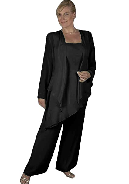 38b6adb1a5c WZW Plus Size Mother of The Bride Pant Suits with Jacket Formal Evening Pant  Suits Black
