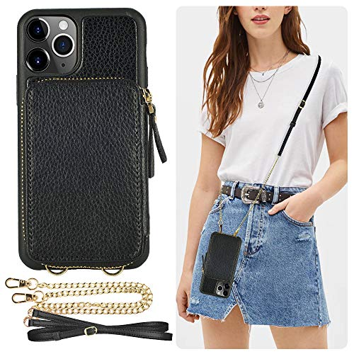 iPhone 11 Pro Wallet Case, ZVE iPhone 11 Pro Case with Credit Card Holder Slot Crossbody Chain Handbag Purse Wrist Strap Zipper Leather Case Cover for Apple iPhone 11 Pro 5.8 inch 2019 - Black