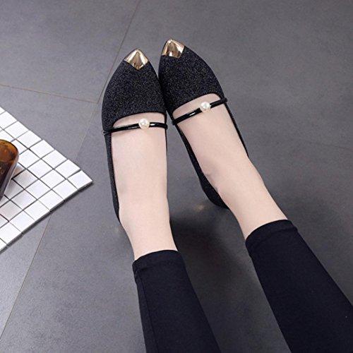 JIANGFU Womens spitz zulaufende flache Mund einzelne Schuhe, Frauen Spitzschuh Ladise Schuhe Casual Low Heel flache Schuhe Black