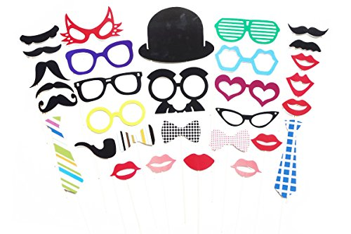 ETSYG 31pcs DIY Wedding Props on a Stick Photo Hat Handlebar Mustache Lip Striped Long Tie Bow Tie Cigarette Holder Fox Style Glasses Family Party