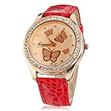 Soleasy Women's Butterfly Pattern Diamante Round Dial PU Band Quartz Analog Wrist Watch WTH8278