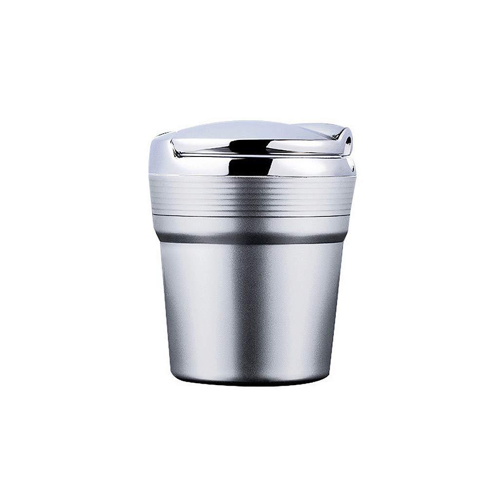 TRIXES Auto-Aschenbecher mit Deckel - Tragbarer Reise-Autoaschenbecher selbstlö schend - aus feuerfestem Kunststoff - Silber Chrom ATM010