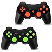 2pcs Pack Wireless Double Vibration Controller for PS3, Bluetooth Sixaxis Gamepad Remote for Sony Playstation 3