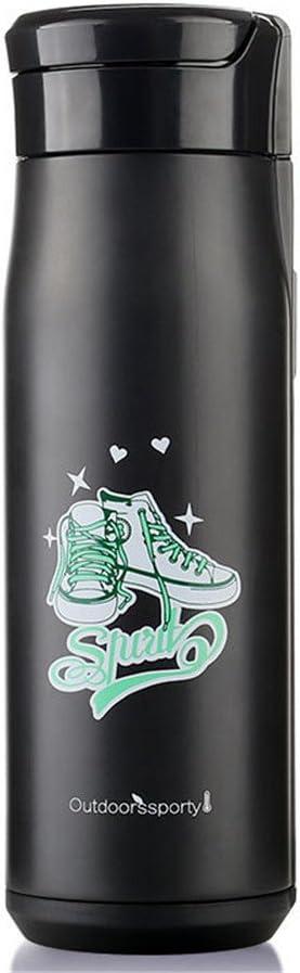 魔法瓶 真空カップポータブル屋外リークプルーフと汗プルーフ大容量ステンレス鋼スポーツカップ/ブラック多機能魔法瓶カップ 供 男女兼用釣り 登山 自転車