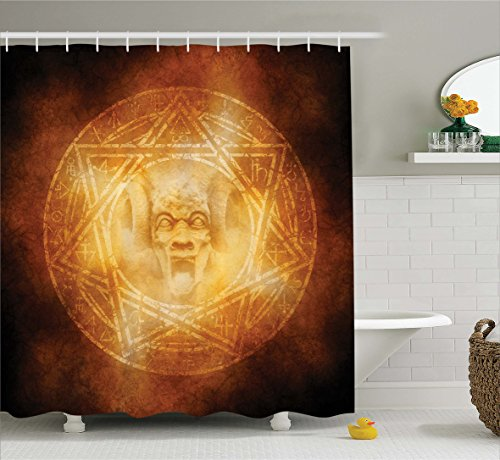 Ambesonne Horror House Decor Shower Curtain, Demon Trap Symbol Logo Ceremony Creepy Ritual Fantasy Paranormal Design, Fabric Bathroom Decor Set with Hooks, 84 Inches Extra Long, Orange by Ambesonne