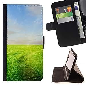 BullDog Case - FOR/Samsung Galaxy A3 / - / Nature Field Trail /- Monedero de cuero de la PU Llevar cubierta de la caja con el ID Credit Card Slots Flip funda de cuer