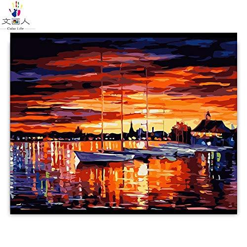 buen precio 100x80 100x80 100x80 no frame KYKDY Bricolaje para Colorar por números Resumen serie de imágenes de amanecer en el paisaje marino pinturas por números mar con dibujo de Colors enmarcado para adultos, 2029,100x80 sin marco  60% de descuento