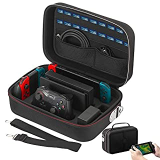 Vikena Nintendo Switch Game Deluxe Travel and Storage Case ,Game Carrying Case fit for Switch Pro Controller,Poke Ball,Switch Console and Accessories,Black