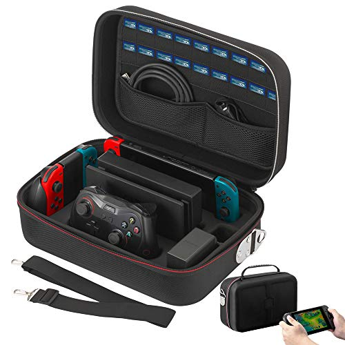 - Vikena Deluxe Travel and Storage Case for Nintendo Switch,Game Carrying Case fit for Switch Pro Controller,Switch Console and Accessories,Black
