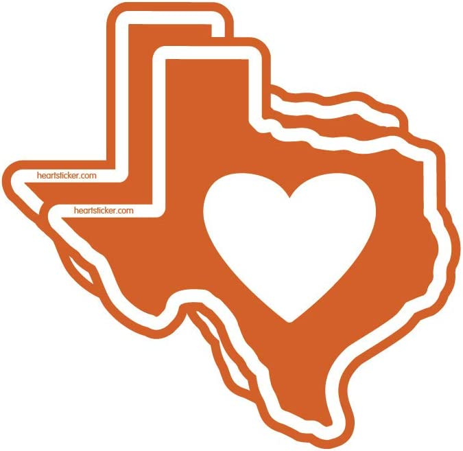 Texas Sticker Burnt Orange Tx State Sharped Decal Vinyl Heart Apply To Water Bottle Laptop Cooler Car Truck Bumper Tumbler 512 Roots Longhorns