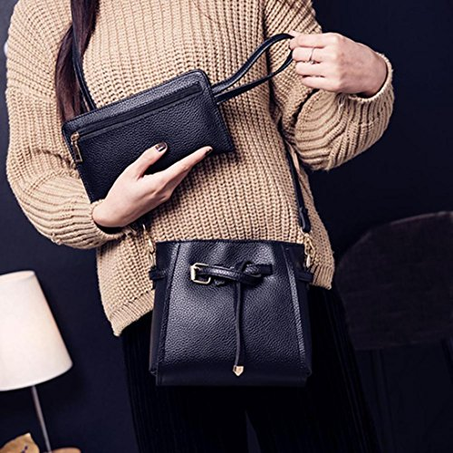 Rakkiss Women Four Set Handbag Shoulder Bag Fashion Tote Bag Crossbody Wallet Leather Satchel Backpack(Four Pieces) (One_Size, Black) by Rakkiss_Clearance Bag (Image #6)