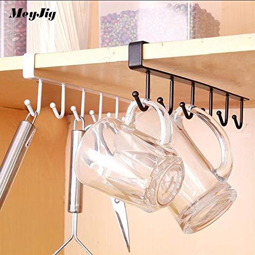 Coffee Cup Glass Mug Holder With 6 Hooks Kitchen Storage Rack Wardrobe Cupboard Closet Hanging Clothes Organizer Hanger (Black)
