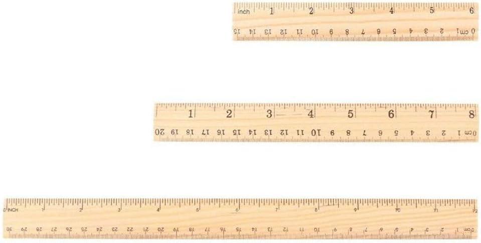 Utoolmart Wood Ruler 20cm 8 Inch 2 Scale Office Rulers Wooden Measuring Ruler 2pcs