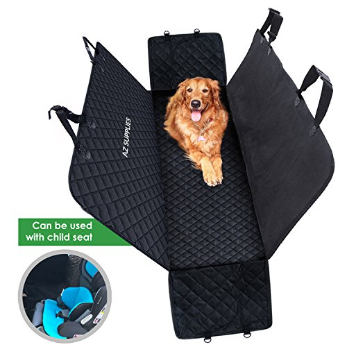 AZ Supplies Dog Seat Cover for Back Seat of Cars, Trucks, SUVs with Waterproof, Scratch Proof. Can be Used Together with a Child Car-Seat