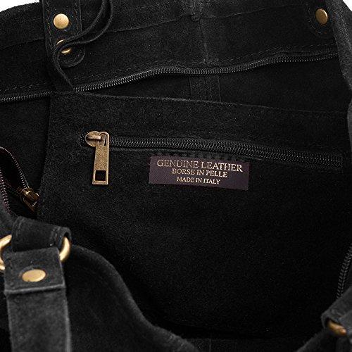 Artegiani Suave Firenze Negro Italy bolso Auténtica Genuino Nude bolso Italiana Pelle Shopper Mujer 39x35x14 tacto Bolso Made Cm Piel bolso Cuero Color Mujer Vera Gamuza De In Hombro dqwArpHPq