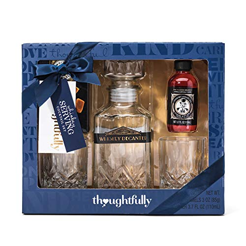 Thoughtfully Gifts, The Whiskey Serving Set, Contains Whiskey Decanter, Manhattan Mixer, 2 Whiskey Glasses, and Whiskey Caramels
