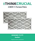2 16x25x1 MERV 11 Allergen Air Furnace & Air Conditioner Filter, Pleated, Premium Filtration, by Think Crucial