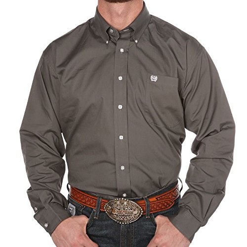 Cinch Horse Tack (Cinch Men's Classic Fit Long Sleeve Button One Open Pocket Solid Basic Shirt, Grey, Large)