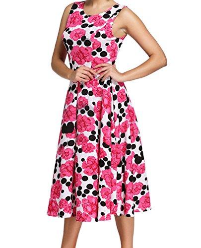 YeeATZ Feminine Rosy Floral Black Dot Swing Vintage Skater - Leilani Wholesale
