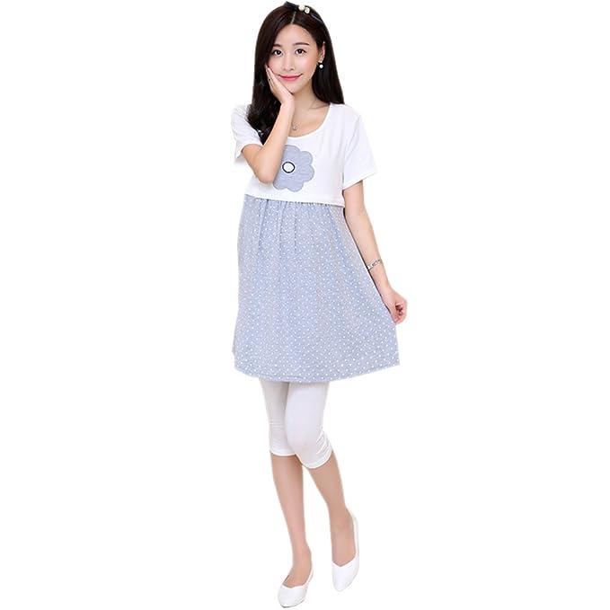 ada3b0999 BOZEVON Color Caramelo Embarazada Ropa de Maternidad Vestido Corta Lactancia  Materna Vestido