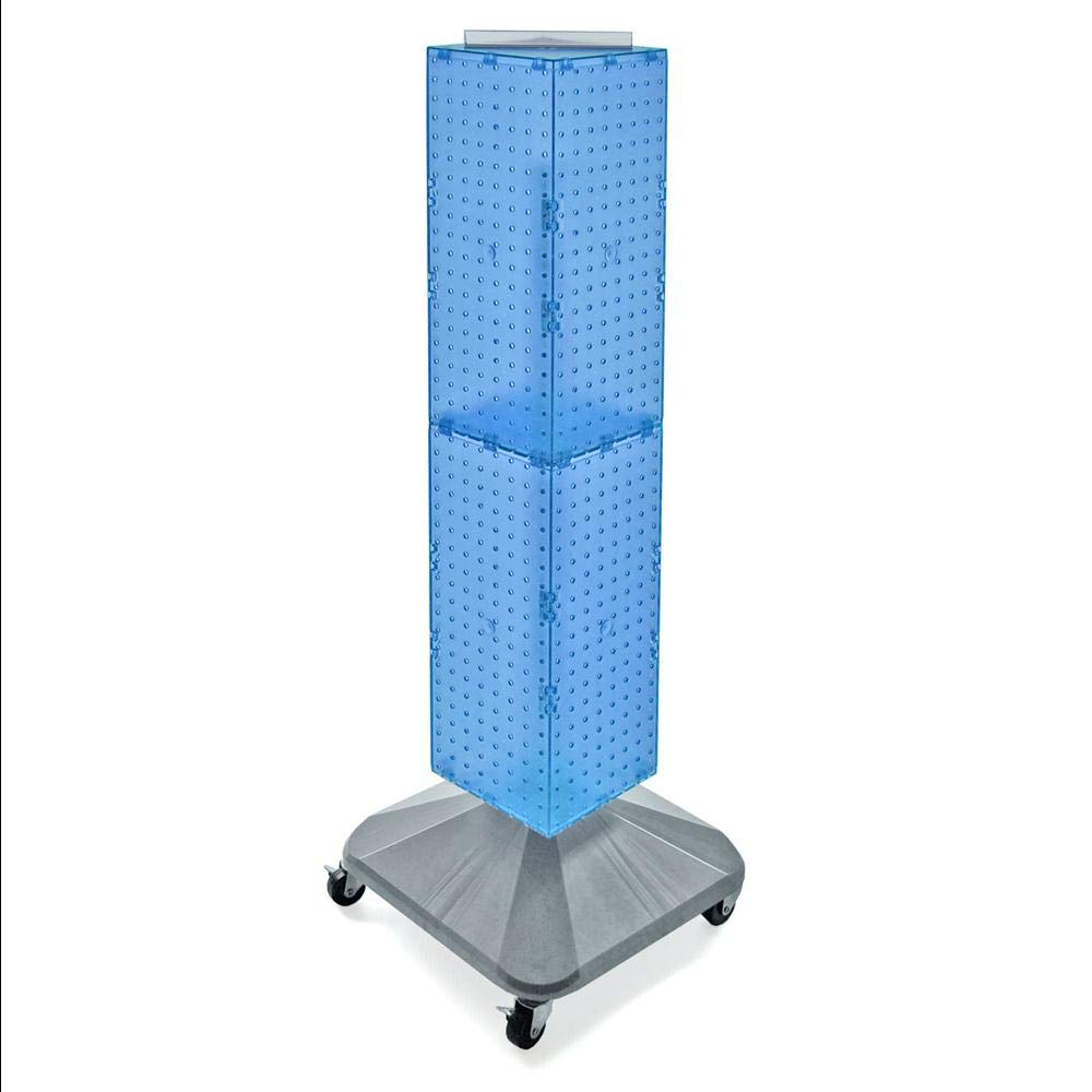 Four-Sided Pegboard Floor Display on Revolving Wheeled Base. Panel Size: 8''W x 40''H BLUE