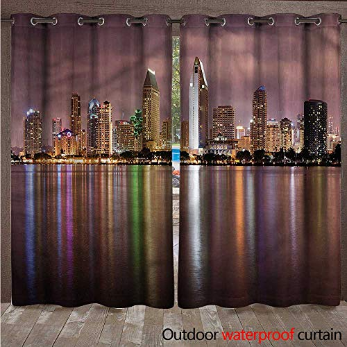 cobeDecor USA Outdoor Curtains for Patio Sheer San Diego Riverside Panorama W96 x L96(245cm x 245cm)