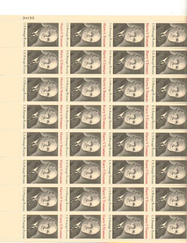Harry S. Truman Full Sheet of 32 X 8 Cent Us Postage Stamps Scot #1499
