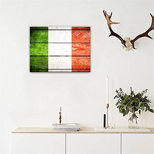 "AmazingWall Italian Flag Vintage Old Style Wooden Decor Oil Canvas Paiting Wall Art 30x40cm/11.8x15.7"""