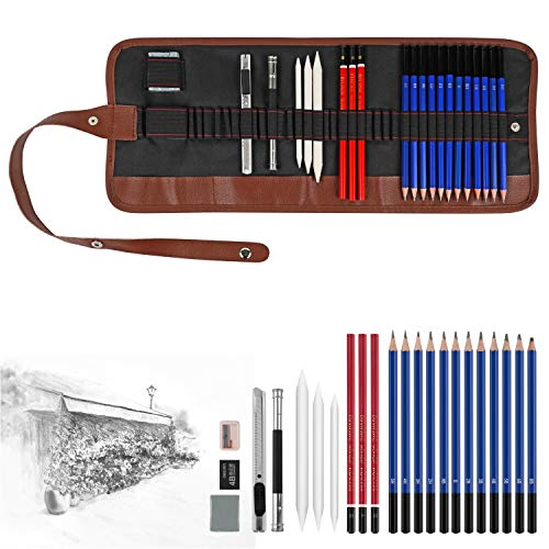 24 Pieces Sketch & Drawing Art Supplies Set,Art Supplies Drawing Kit Includes Graphite Pencils and Sticks, Charcoal Pencils, Erasers and Sharpeners,Perfect for Kids & Adults Beginners Student Artist