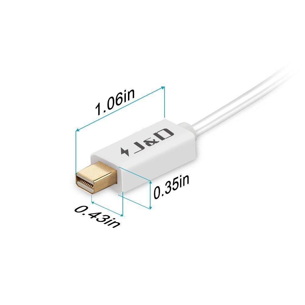 J/&D Oro-Placcato Mini DisplayPort Cavo 60Hz 4K Risoluzione Thunderbolt 1/&2 Compatibile Mini DP Cavo 4K 60Hz