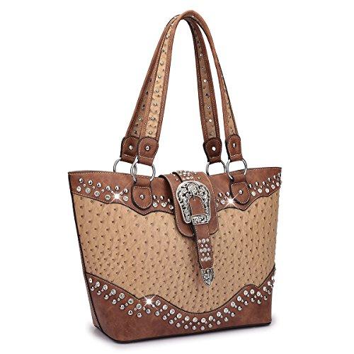 (Dasein Designer Western Style Rhinestone Buckle Camo Women's Tote Handbag Perfect Shoulder Bag (Ostrich, Tan/Brown) )