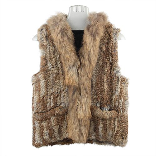 SPRINGWIND Genuine Rabbit Fur Coat For Women Knit Gilet Knitted Vest With Pocket ()