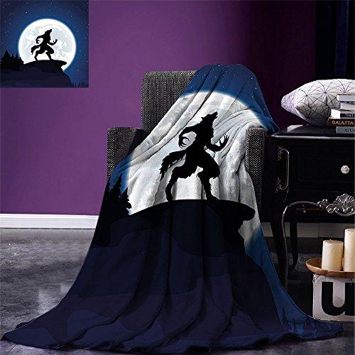 smallbeefly Wolf Custom printed Throw Blanket Full Moon Night Sky Growling Werewolf Mythical Creature in Woods Halloween Velvet Plush Throw Blanket Dark Blue Black White