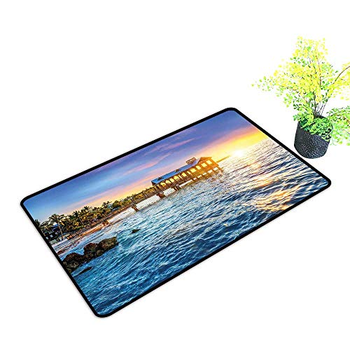 Diycon Door mat United States Pier at Beach in Key West Florida USA Tropical Summer Paradise W16 xL20 Non-Slip Backing Light Blue Yellow -