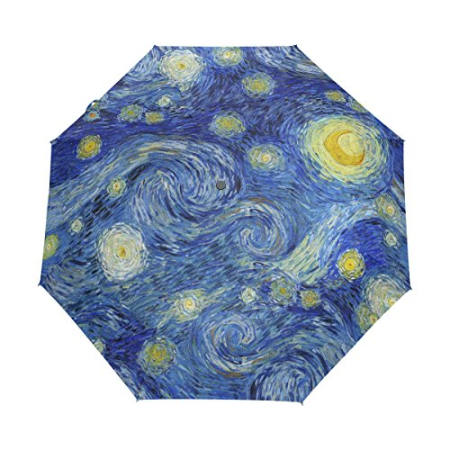 WOZO Oil Painting Starry Night Galaxy 3 Folds Auto Open Close Umbrella